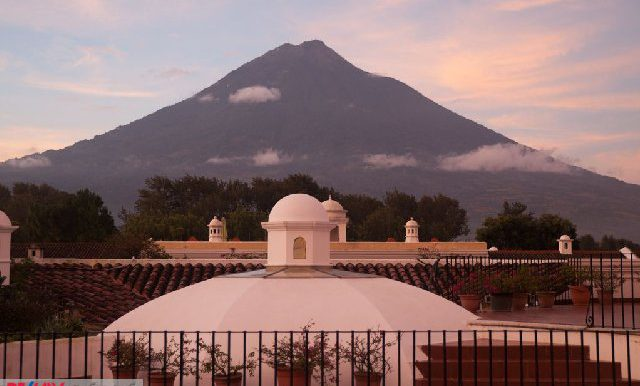 View of Volcan de Agua from the upstairs terrace